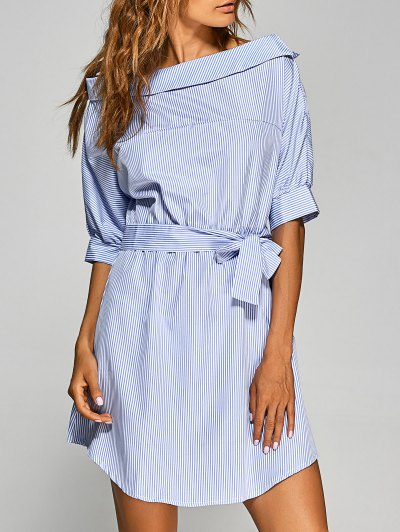 Striped Asymmetric Neckline Belted Dress - Blue And White