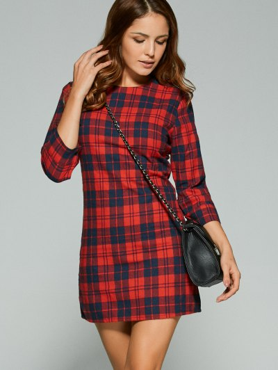 3/4 Sleeve Mini Plaid Casual Dress - RED XL Mobile