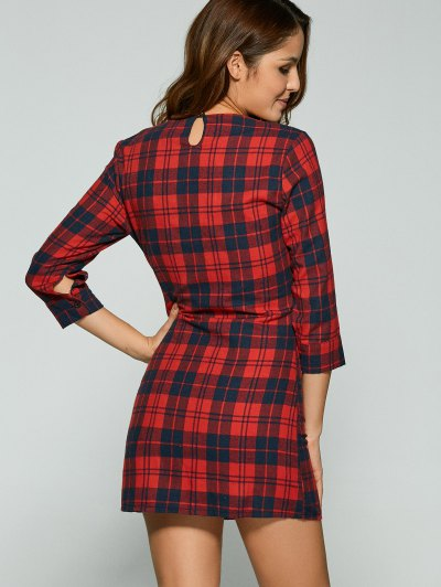 3/4 Sleeve Mini Plaid Casual Dress - RED S Mobile