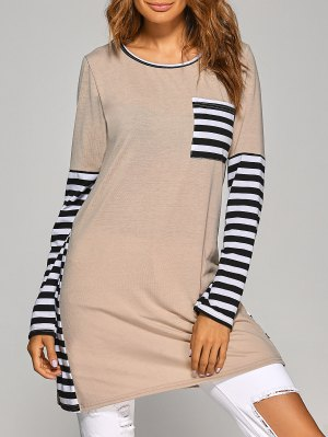 Contrasting Stripe Long Sleeve T-Shirt Dress - Khaki