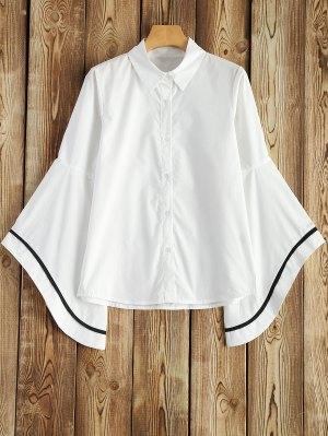 Contrasting Stripe Bell Sleeve Shirt - White