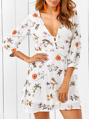 Plunging Neck Cutout Floral Dress - White