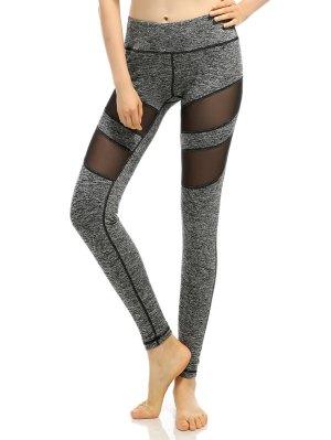 Heathered Stretchy Mesh-Insert Pants - Gray