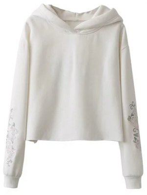 Rose Embroidered Hoodie - White