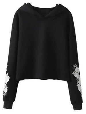 Rose Embroidered Hoodie - Black