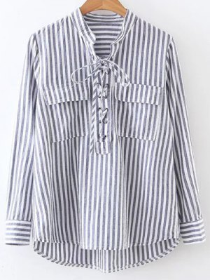 Striped Lace Up Shirt - Stripe