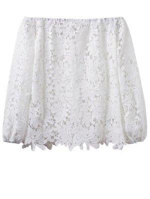 Crochet Off The Shoulder T-Shirt - White