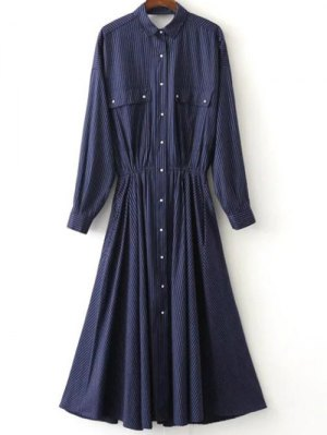 Striped Button Up Maxi Shirt Dress - Purplish Blue