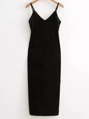 Side Furcal Velour Slip Dress - Black