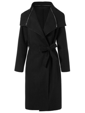 Shawl Belted Wool Blend Wrap Coat - Black
