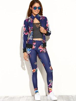 Flower Printed Zipper Up Top+Pants - Deep Blue