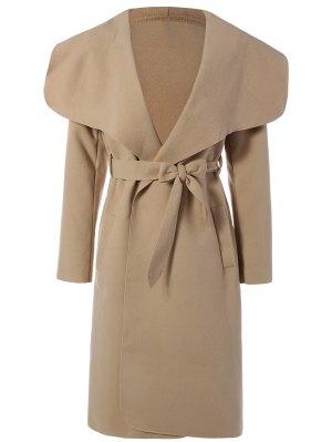 Shawl Lapel Belted Wrap Coat - Khaki