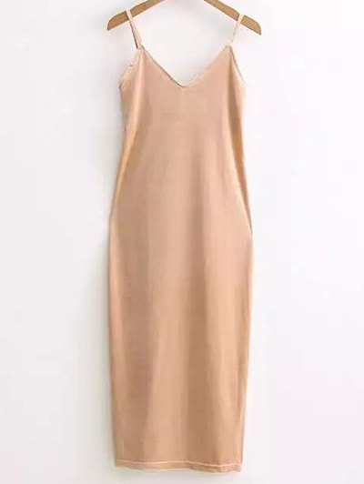 Side Slit Velour Slip Dress