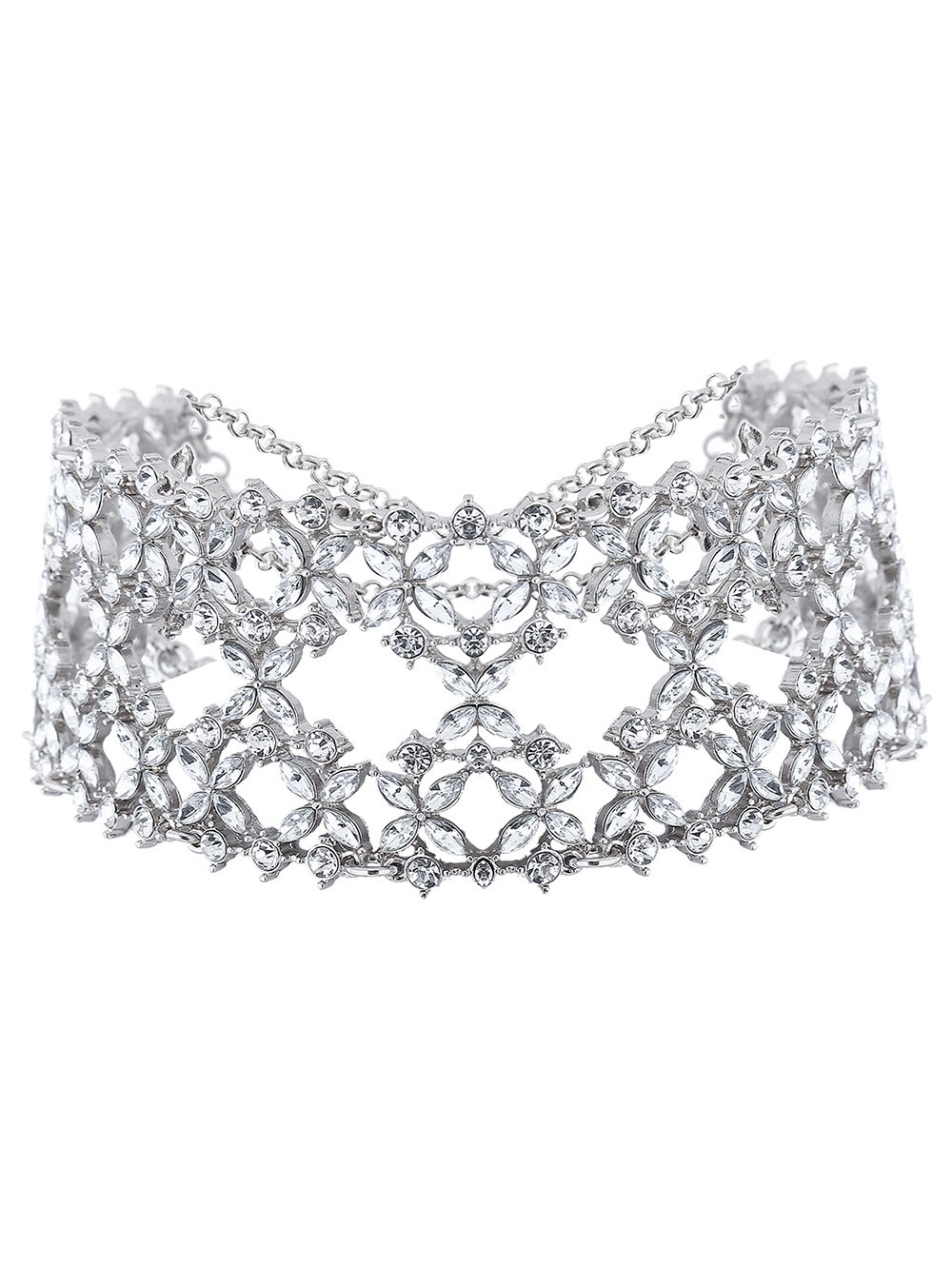 Hollowed Tiered Rhinestone Wide Choker