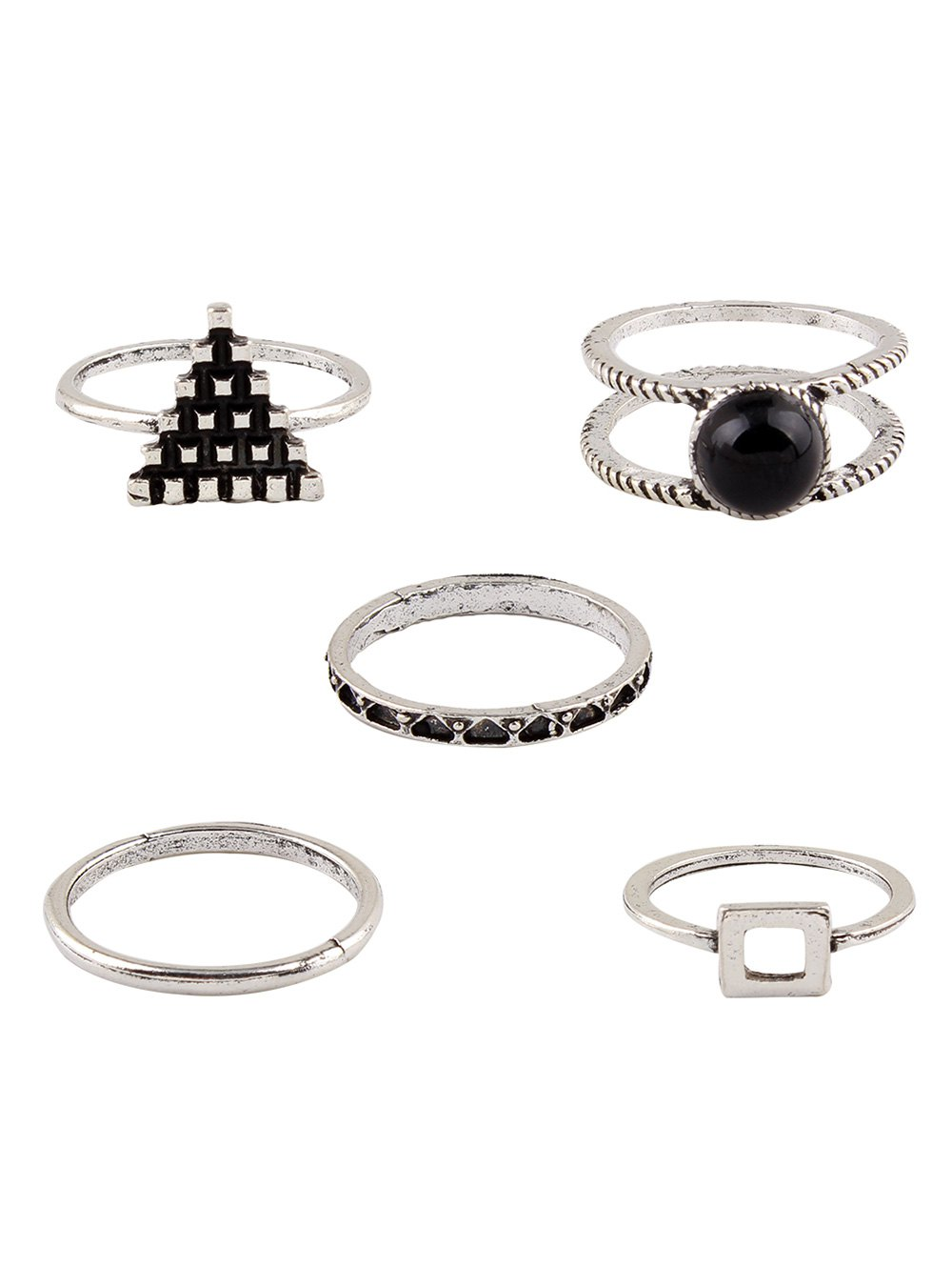 Burnished Faux Gem Chic Ring Set
