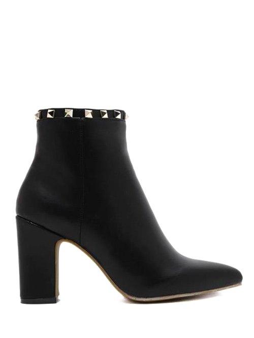 Rivet Chunky Heel Boots