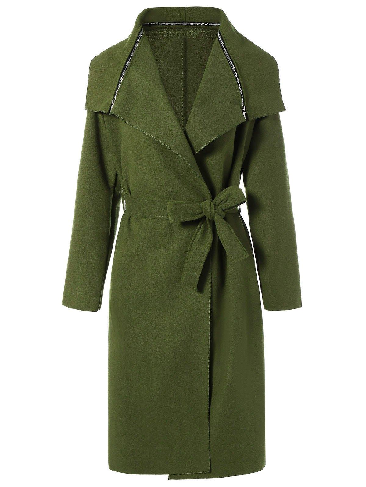 Zipped Belted Shawl Wrap Coat