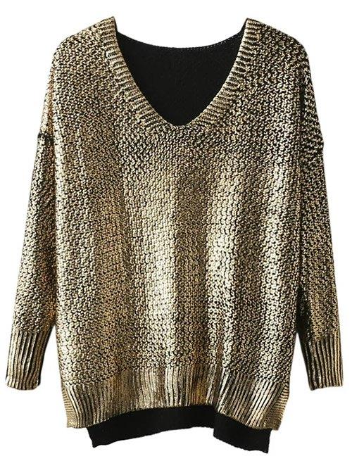 V Neck Side Slit Gilding Sweater