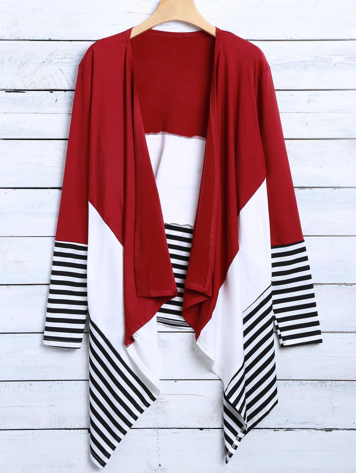Stripe Asymmetric  Cardigan