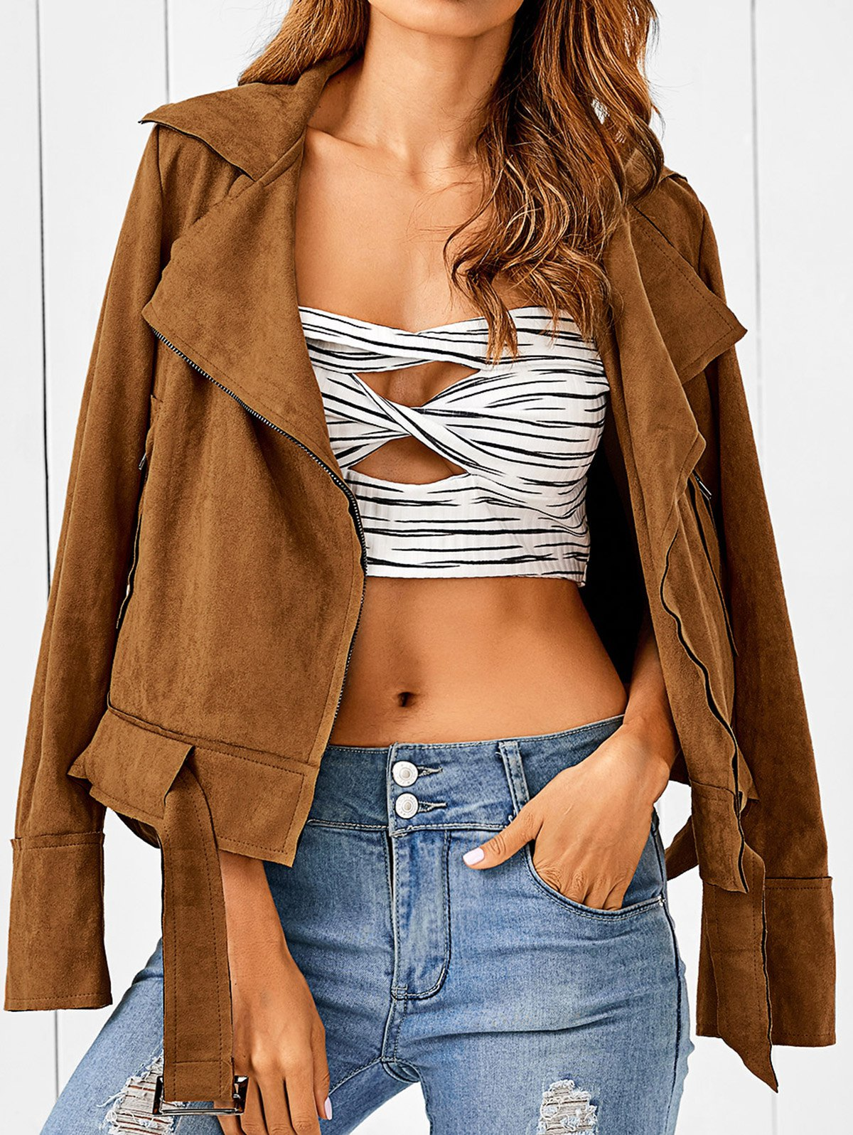 Zip Pocket Faux Suede Jacket