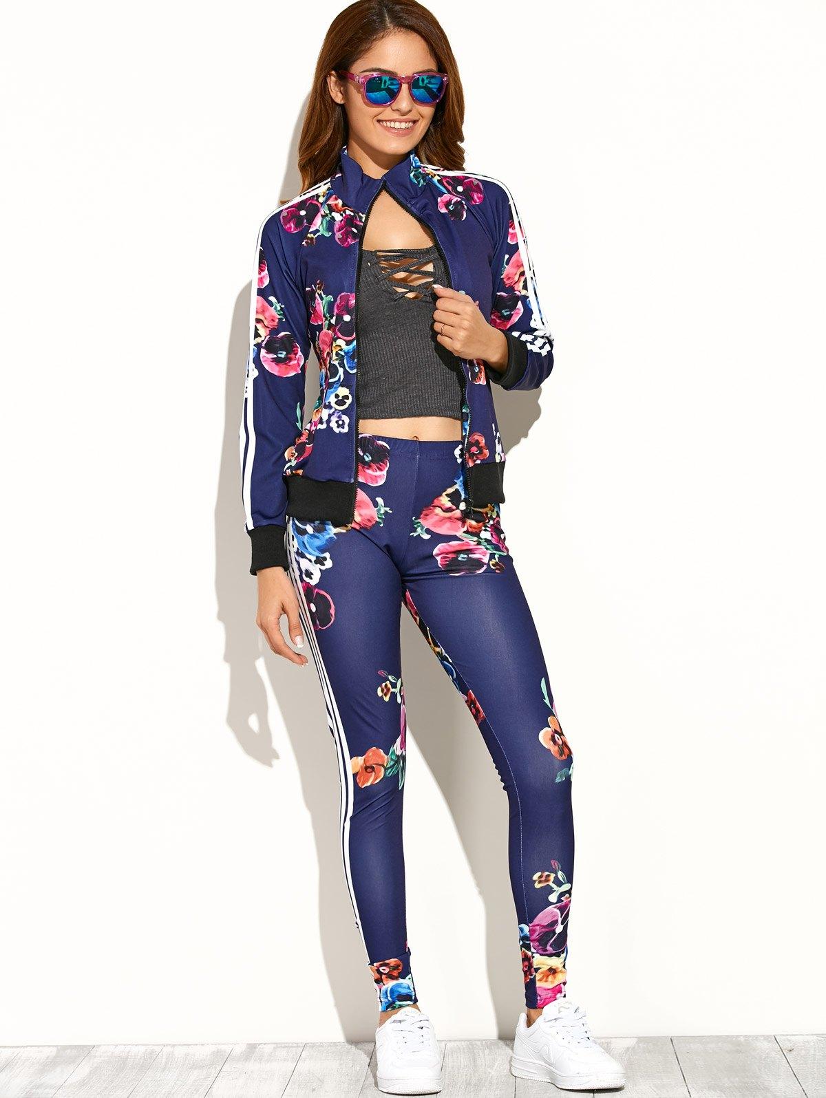 Print Zipper Up Top+Pants