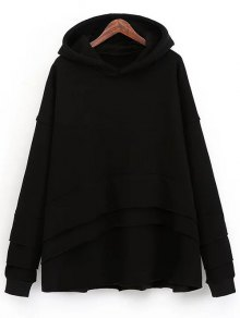 Layered Fleece Hoodie - Black