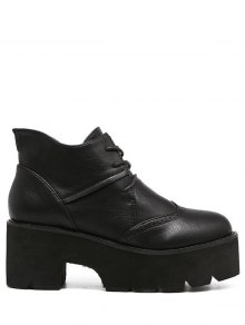 Vintage Lace-Up PU Leather Platform Boots - Black 37