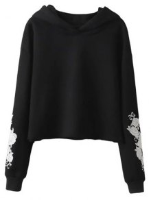 Rose Embroidered Hoodie - Black L