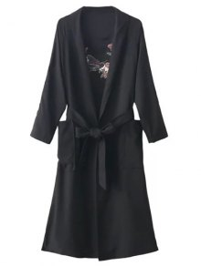 Floral Embroidered Belted Duster Coat - Black