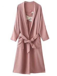 Floral Embroidered Belted Duster Coat - Pink