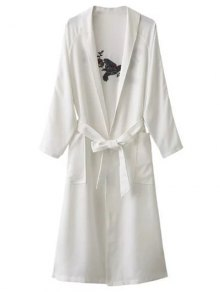 Floral Embroidered Belted Duster Coat - White