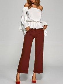 Turnup Wide Leg Pants - Wine Red