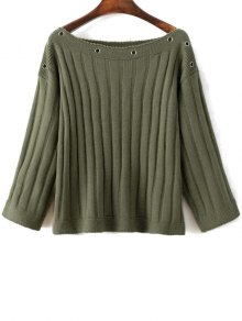 Slash Neck Ribbed Jumper