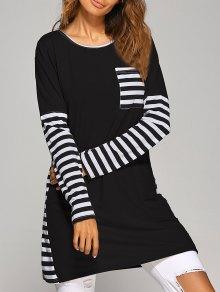 Contrasting Stripe Long Sleeve T-Shirt Dress - Black