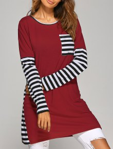 Contrasting Stripe Long Sleeve T-Shirt Dress