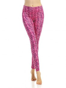 Buy Ornate Printed Stretchy Breathable Leggings - ROSE RED S