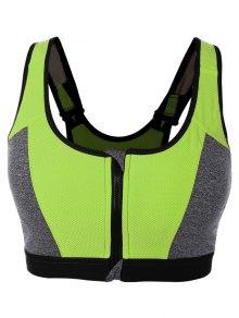 Zip Up Color Block Sports Bra - Celadon M
