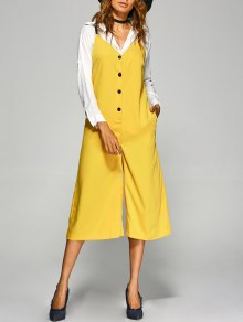 Buttoned Wide Leg Jumpsuit - Yellow