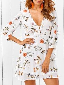 Plunging Neck Cutout Floral Dress - White