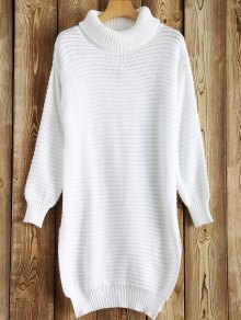 Side Furcal Turtle Neck Sweater Dress - White