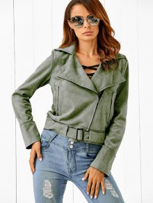 Buy Lapel Zipped Faux Suede Jacket S ARMY GREEN