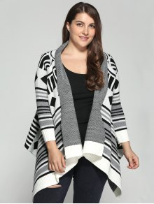 Asymmetric Geometric Pattern Plus Size Cardigan - 3xl