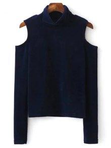 High Neck Cold Shoulder Velour T-Shirt