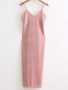 Side Furcal Velour Slip Dress