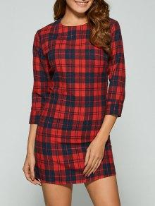 3/4 Sleeve Mini Plaid Casual Dress - Red