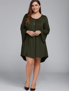 Plus Size Lace Up Flare Sleeves Dress - Olive Green