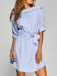 Robe Ceinturée à Rayures Décolleté Asymétrique - Bleu Et Blanc