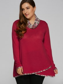 Overlay Cowl Neck Plus Size Blouse - Deep Red 3xl