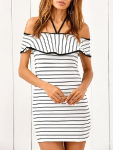 Flounced Striped Bodycon Dress - Stripe S
