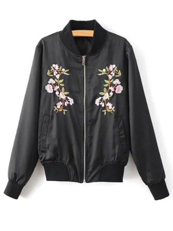 outfits Floral Embroidered Pilot Jacket - BLACK L